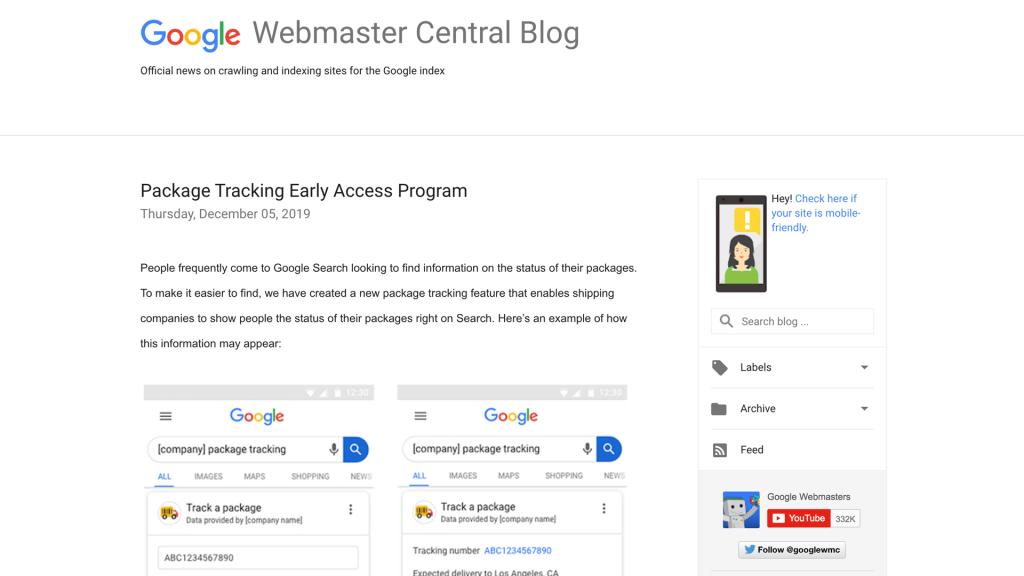 Blog del Centro para webmasters de Google